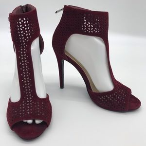 Anne Michelle Maroon Ankle Strap Pump